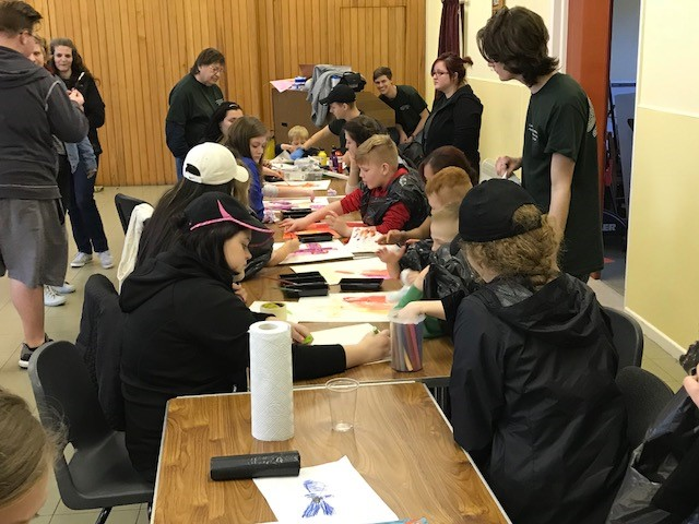 Ireland team doing crafts with Irish children