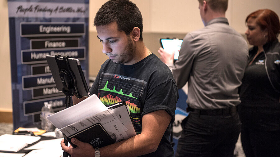 A student participating in a career event