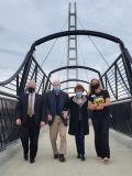 Crossing now open; Parkers visit pedestrian bridge that bears their name for first time