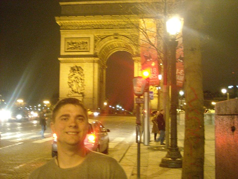 Team member Allen Daler pictured in Paris at the Arc de Triomphe