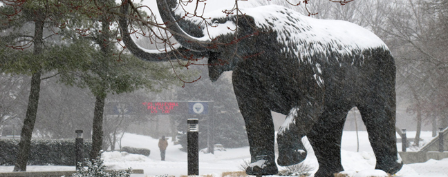 Photo of a snow covered Mastadon at IPFW-Winter day