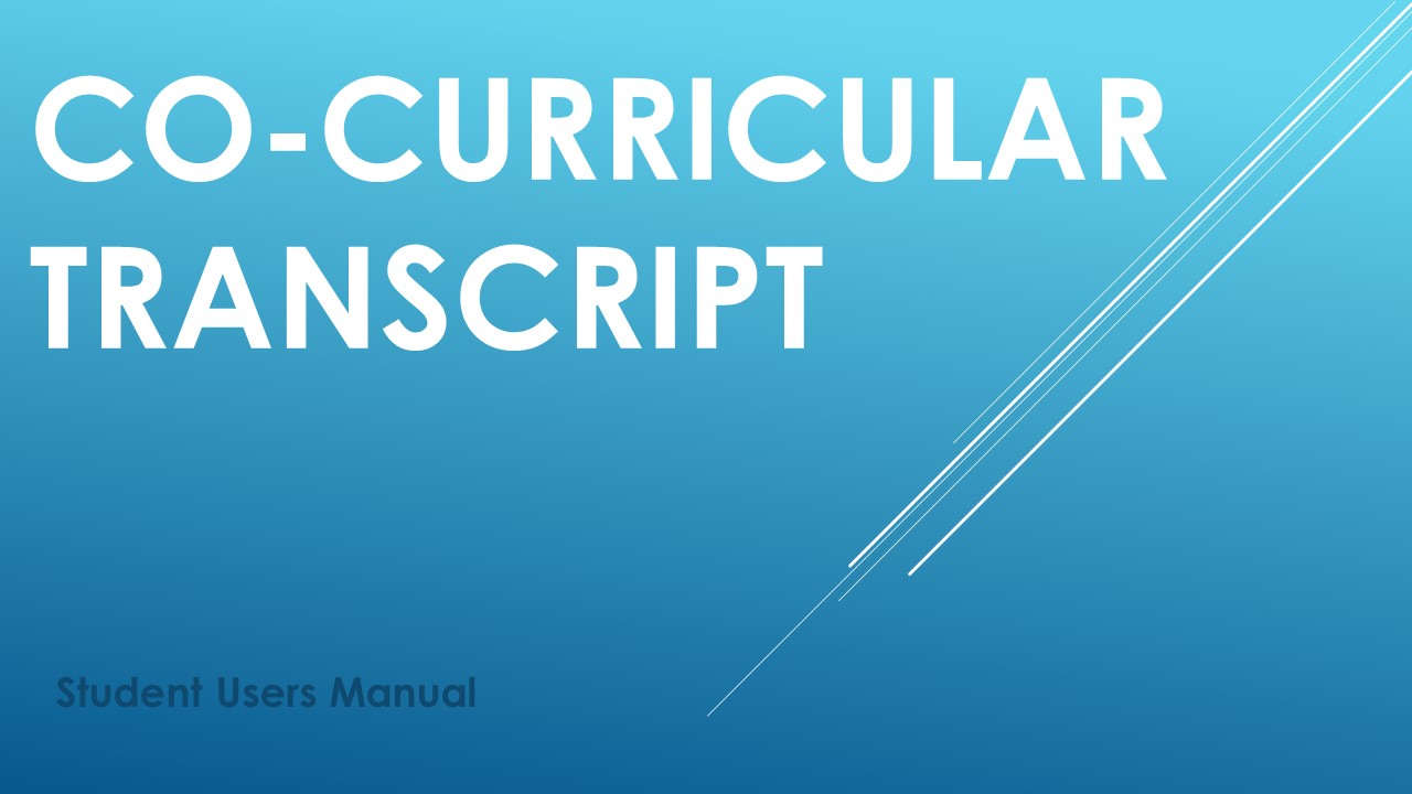 Co-Curricular Transcript Users Manual