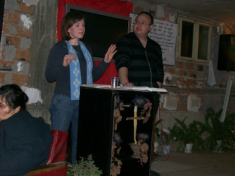 Campus Ministry Associate Melissa Cormany shares in a Roma church in Bulgaria