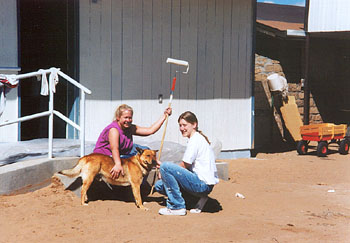 Painting a Navajo home in New Mexico