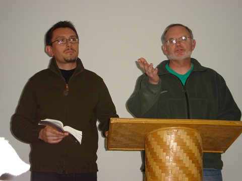 Campus Minister Ben Gates with GLO missionary Patrizio Zucchetto preaching