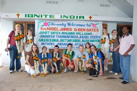India team is welcomed at the home of Pastor Prasad