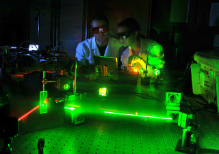 Students at laser table
