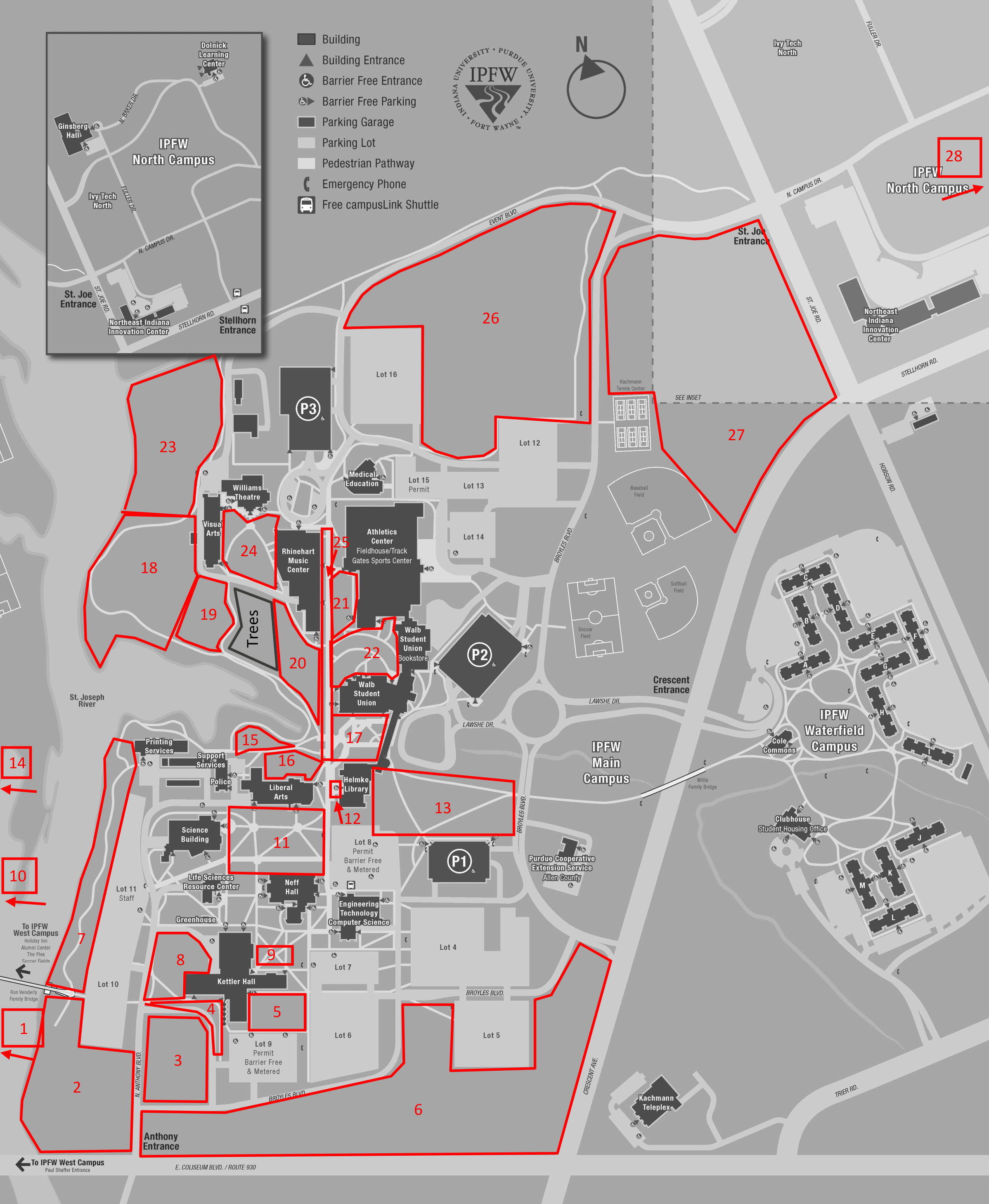 Map of Outdoor Spaces - Purdue University Fort Wayne