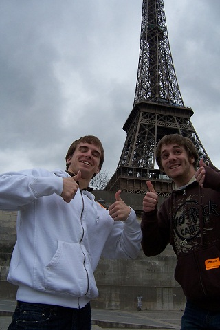 Team members Colin and Devin love the Eiffel Tower in Paris