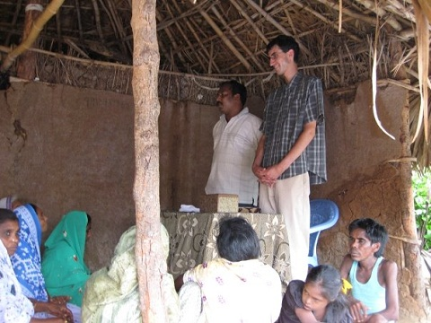 Tony Beers shares in village church in India