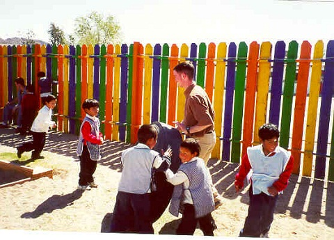 Playing with children in Juarez, Mexico