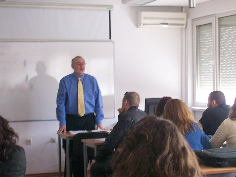 Campus Minister Ben Gates gives a lecture on American history at a French University