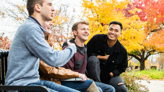 Four students sit on a bench during the Fall while conversing.
