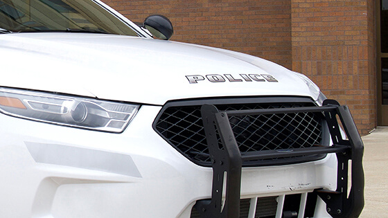 The front-end of a police car.