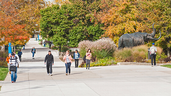Students walking around on campus.