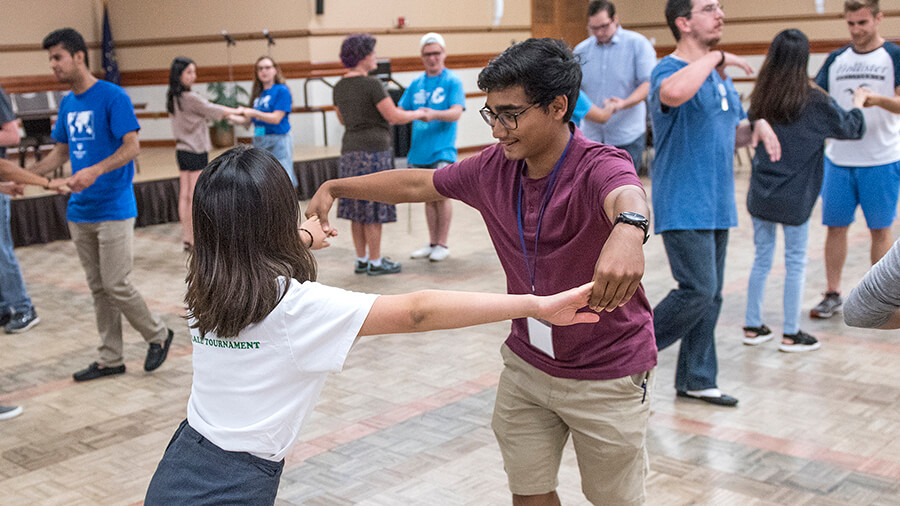 Students learning classical dance in Walb Union Classic Ballroom
