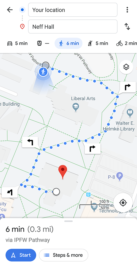 Screenshot of walking directions through Google maps on campus.